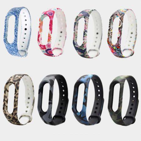 بند سیلیکونی طرح دار دستبند سلامتی شیائومی مدل Mi Band 2